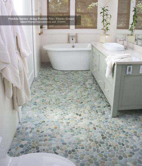 Love this! Matches the paint on my accent wall. stone floor. Sea Green Pebble tile flooring! https://www.pebbletileshop.com/products/Sea-Green-Pebble-Tile.html#.VPdEpfnF-1U