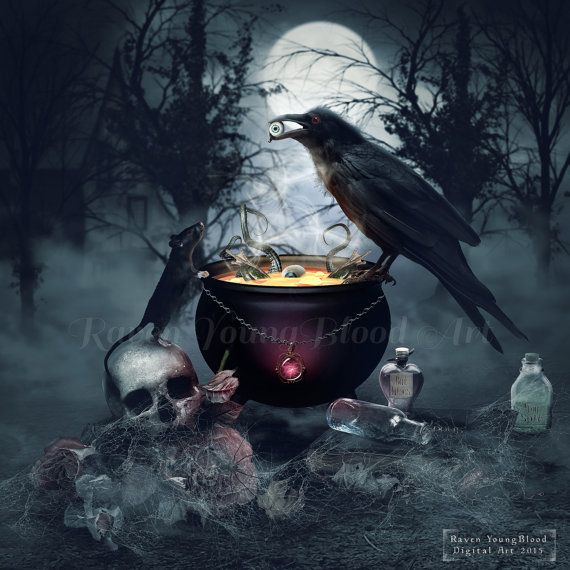 Toil and Trouble  Gothic fantasy digital art by RavenYoungBloodArt