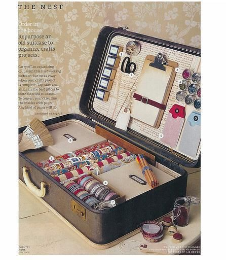 Country Home transformed an antique suitcase into the perfect crafting treasure box.   Line the suitcase with paper, and then using either hot glue or velcro, you can create your own traveling craft store.