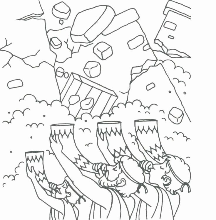 24 Walls Of Jericho Coloring Page In 2020 Sunday School