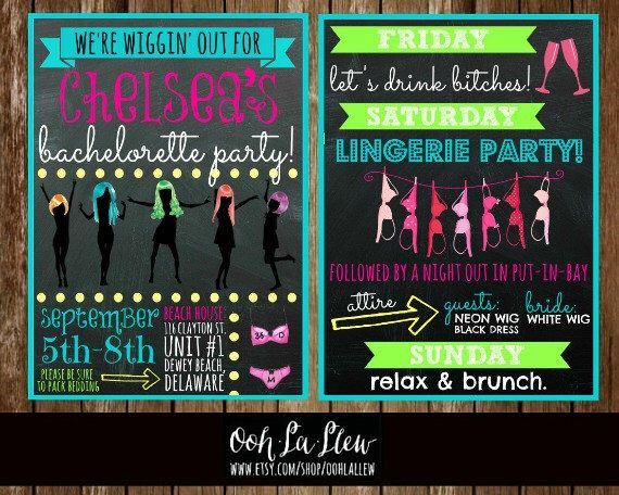 Neon Wigging Out Black Out Bachelorette Party Invitation by OohLaLlew on Etsy https://www.etsy.com/listing/191901020/neon-wigging-out-black-out-bachelorette