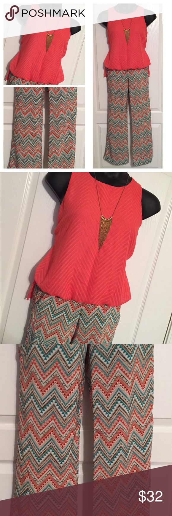 Perfectly Paired #1 This perfectly styled outfit is available exclusively in my closet! Features a gorgeous coral hi low bubble front blouse (M) and chevron wide leg palazzo pants (S) and a gorgeous gold tone necklace!  Each piece is listed separately in my closet or you can purchase the entire look at a discount. Comment below with questions. NO TRADES ❗️PRICE FIRM, OFFERS WILL BE IGNORED ❗️ Bundle for a discount Mixed Pants Wide Leg