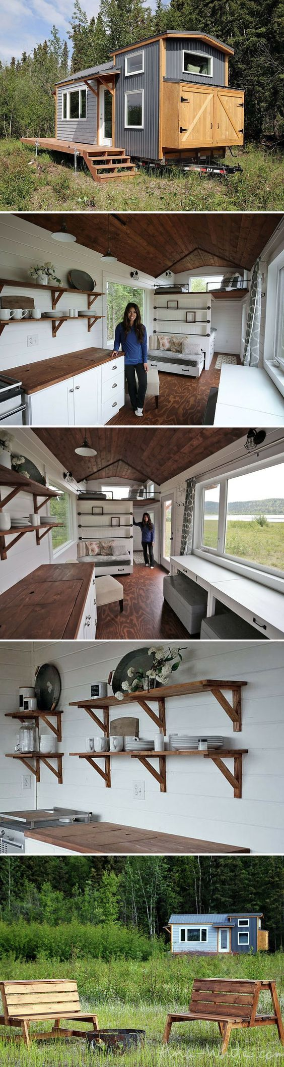 A stunning 204 sq ft tiny house, designed by blogger Ana White, and set in the idyllic Alaskan wilderness.