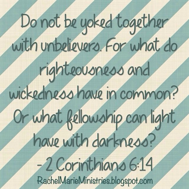 """Do not be yoked together with unbelievers. For what do righteousness and wickedness have in common? Or what fellowship can light have with darkness? - 2 Corinthians 6:14 (NIV)  Singles, wait on GOD & HIS TIMING to bring you the right person. As the saying goes, """"Wait on the one who pushes you closer to God, NOT closer to sin. I challenge you to defy the urge to take matters into your own hands out of fear of being alone.. Read the rest here: https://instagram.com/p/6fn9H6P4Yu/"""