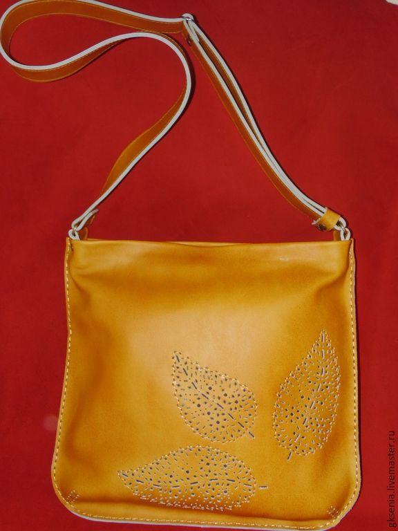 """Купить Сумка """"Листопад"""" охра. - рыжий, охра, сумка кожаная, Кожаная сумка"""