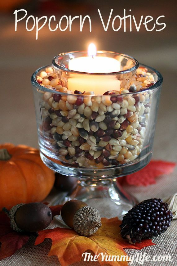 Easy Fall Popcorn Votive Candles & Centerpieces using everyday items. www.theyummylife.com/fall_popcorn_votives
