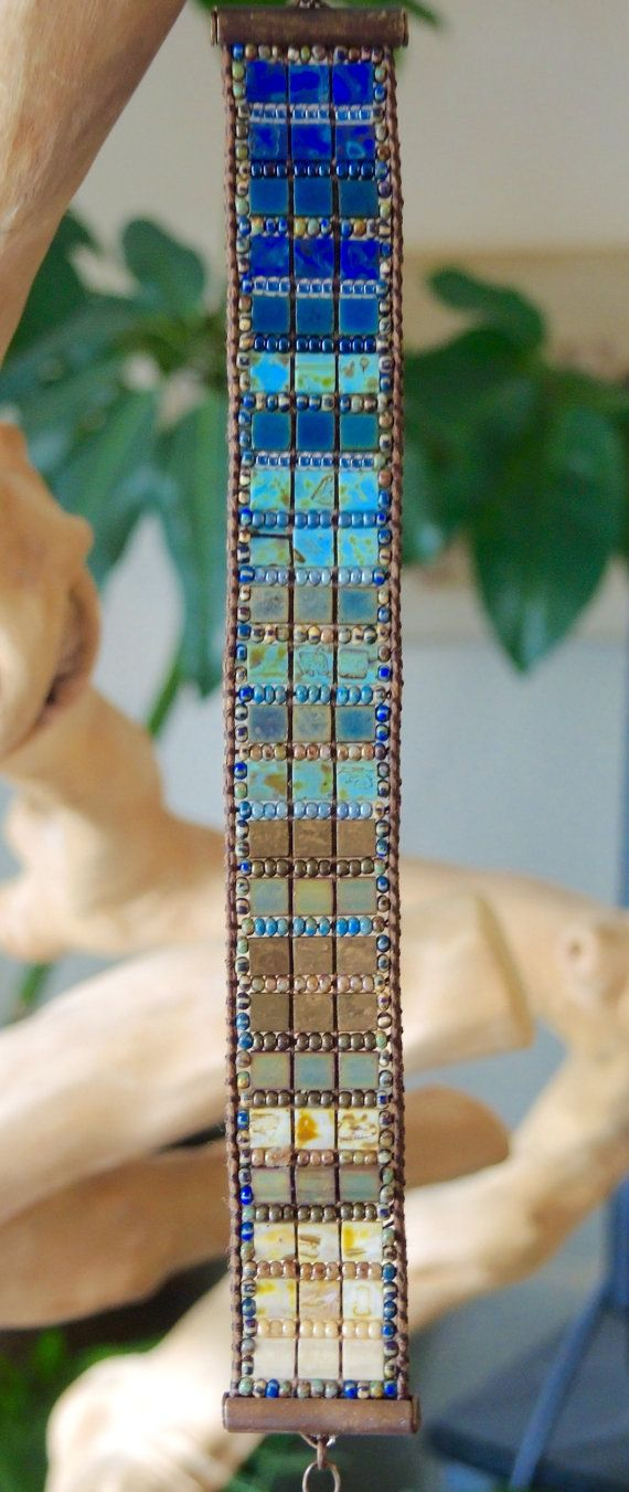 Wow look at these colors of #tilas !! Browns & Blues Hand-Loomed Bracelet featuring Japanese Miyuki Tila and Seed Beads on ETSY.