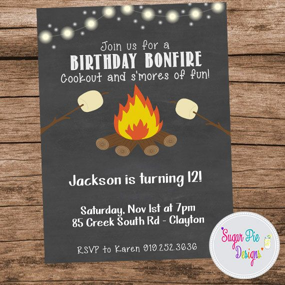 Bonfire Birthday | Camping Birthday Party Invitation by SugarPieDesigns1 on Etsy