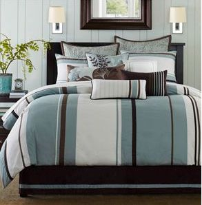 Bedspreads  Comforters Queen on Blue And Brown Striped Bedding  Blue And Brown Striped Comforter Set
