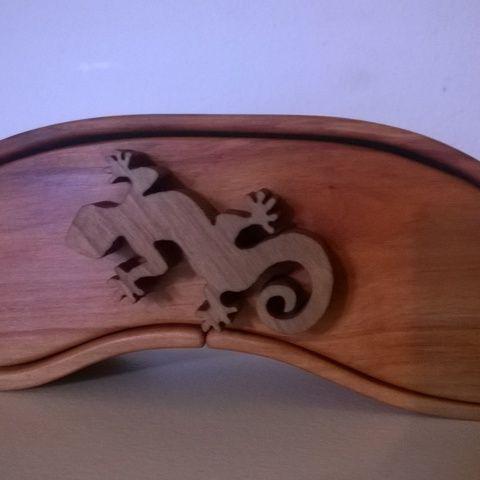 Meska - Ékszertartó gyíkmintás fogantyúval tomawoodworks kézművestől