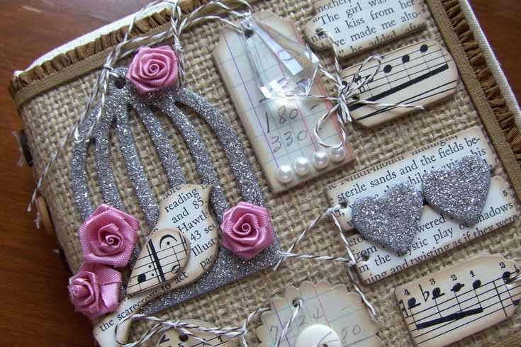 Lisa Pace using burlap on mini album.  Love!Cards Stockings, Minis Album, Burlap Scrapbook Pages, Smash Book, Lisa Pace, Book Covers, Burlap Crafts Decor, Easter Ornaments, Music Sheet