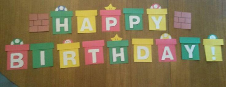 Mario bros decorations. ..happy birthday banner