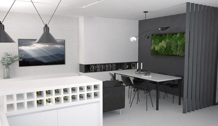 modern black and white livingroom interior design, Elbląg, Poland