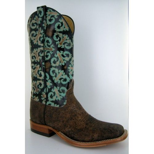 Anderson Bean Men's Boots Giraffe Rust Safari with Orleans Turquoise Tooled  Tops