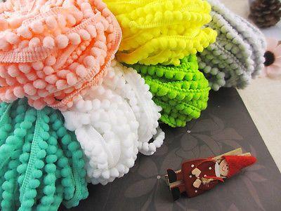 10mm-Pom-Pom-Trim-Ball-Fringe-Ribbon-Sewing-Accessory-Lace-3y-lot-020002001