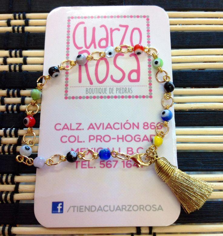 Pulsera de ojo turco y borla o motita alambrada * Evil eye bracelet with wired tassel