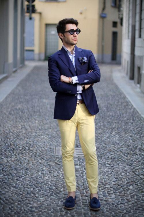 Yellow. Source: thethreef.com :Sartoria Rossi tailor made Jacket; Ralph Lauren Purple Label shirt; PT01 Pants; Church's Loafers.