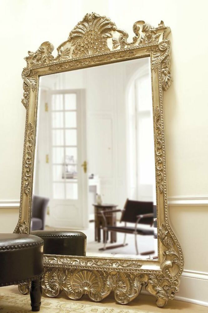 New Horchow Grand 84 Ornate Scroll Silver Leaf Baroque Wall Floor Mirror Xl Unbranded Traditional Floor Mirror