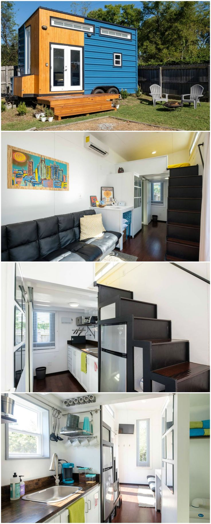 TheNashville Tiny Househas a modern, minimalist design with clean lines, white space, and high ceilings. The 185-sq.ft. custom-built house is sustainably made from recycled wood on a restored trailer.
