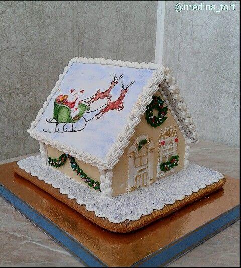 Зимний пряничный домик;  в инстаграмме - @medina_tort