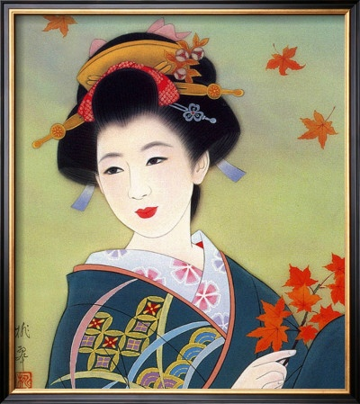 Painting of Japanese woman.
