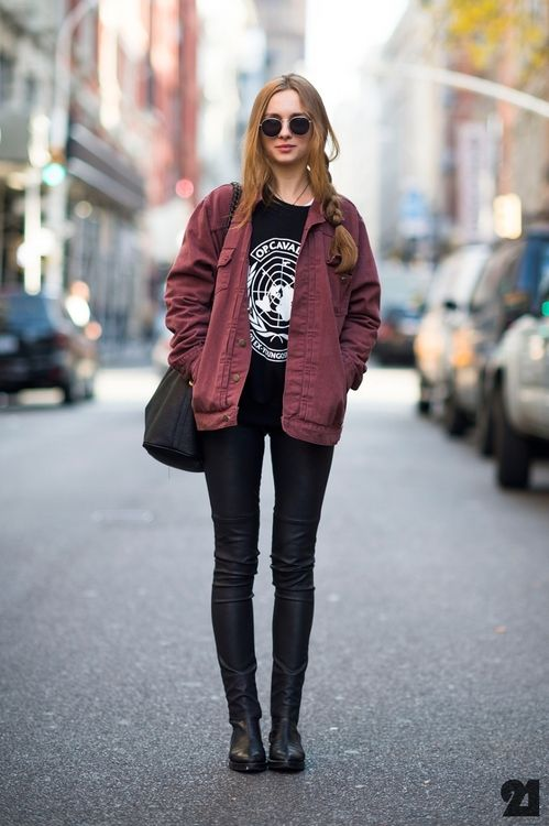 Red jacket and all black.
