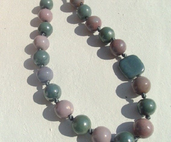 handmade necklace in light blue and purple