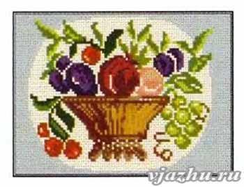 Бесплатные схемы вышивок: ваза с фруктами, ваза с яблоками, отдельных фруктов.