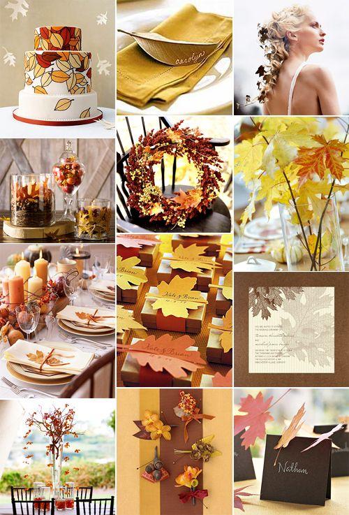 Fall wedding ideas!: Wedding Themes, Fall Leaves Wedding, Wedding Ideas, Fall Ideas, Autumn Weddings, Wedding Inspiration Boards, Fall Weddings, Autumn Colors, Fall Wedding Colors