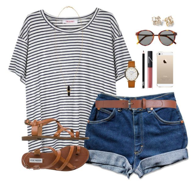 """""""stripes"""" by classically-preppy ❤ liked on Polyvore featuring Organic by John Patrick, Steve Madden, Maison Boinet, Yves Saint Laurent, Marc by Marc Jacobs, NARS Cosmetics, Isabel Marant and Kate Spade"""