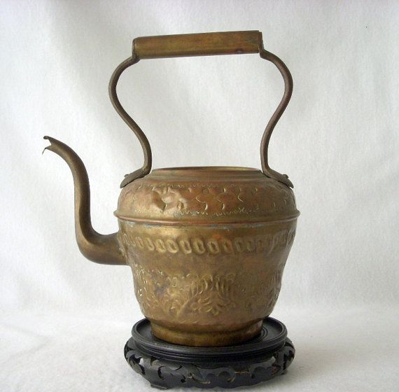 Rustic French Teapot Copper Brass Kettle Repousse by GSaleHunter