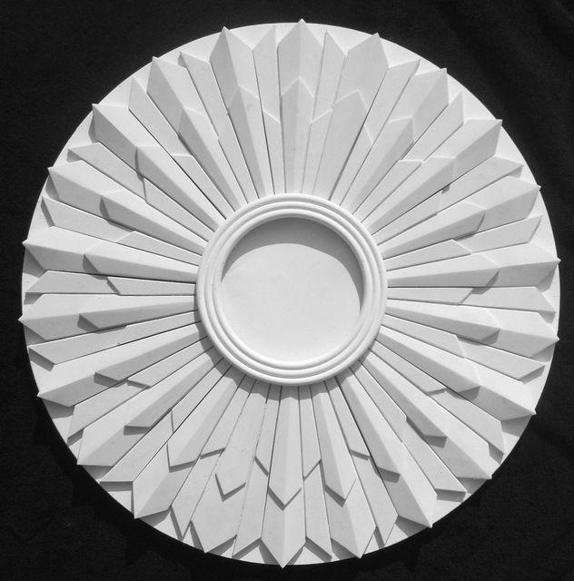 Art Deco sunburst 'Saturn' plaster ceiling rose design R10 21 ins dia.