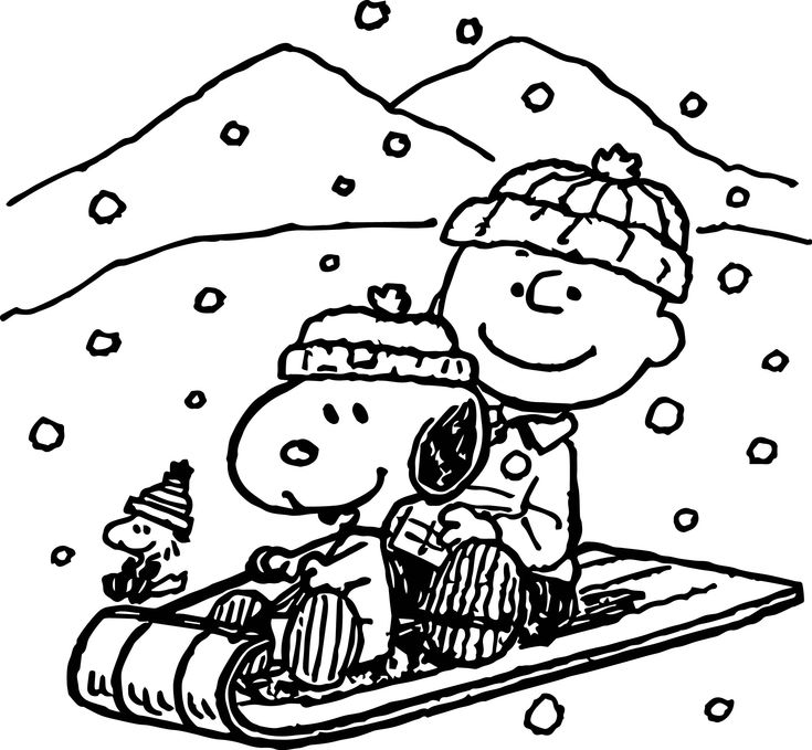 snoopy woodstock christmas coloring pages - photo#10