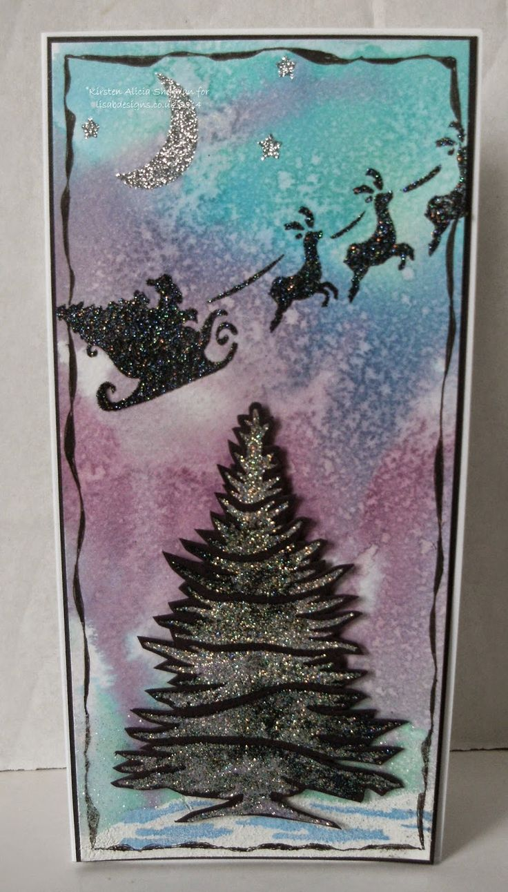 Handmade Christmas card. Imagination Crafts' Sparkle Medium, Inkadinks, stencils - Rooftops & Fir trees.