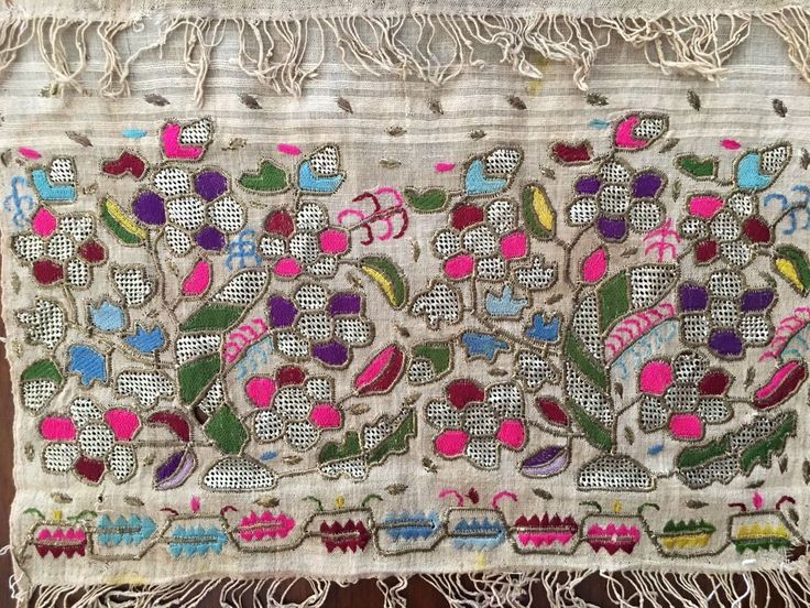 Antique Ottoman-Turkish Silk & Metallic Hand Embroidery On Linen N3 3