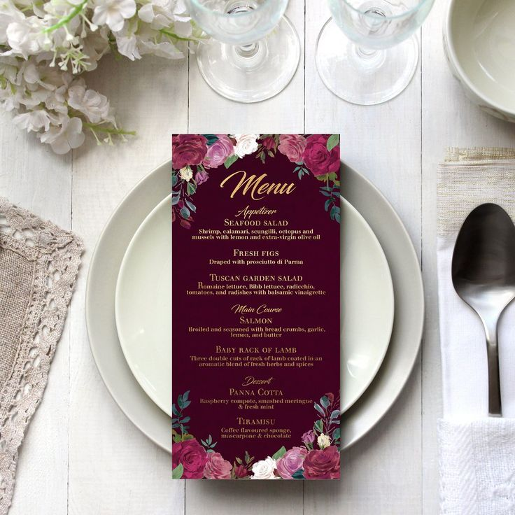 The red rose a classic symbol of romance and love. This lush menu design is customised with your wedding details.  size  DL - 99x210mm  colours & fonts   Most colours and all fonts can be changed upon request to achieve a truly personal menu for your special day.