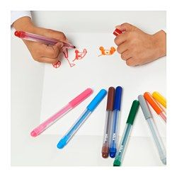 IKEA - MÅLA, Filzstift, , Filzstifte können bis zu 3 Tage ohne Kappe bleiben, ohne auszutrocknen. Für lange Lebensdauer die Kappe nach jeder Benutzung wieder auf den Stift setzen.Alle Produkte der MÅLA Serie sind giftfrei - wir sind genauso besorgt um die kreativen Köpfe und Künstler der Zukunft wie du.Handliche Filzstifte in kräftigen, deckenden Farben regen die Fantasie und Kreativität von Kindern an.Flecken von Filzstiften können von den meisten Oberflächen mit lauwarmer Seifenlösung…