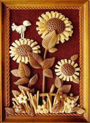 Salt dough sunflowers and bird framed art.