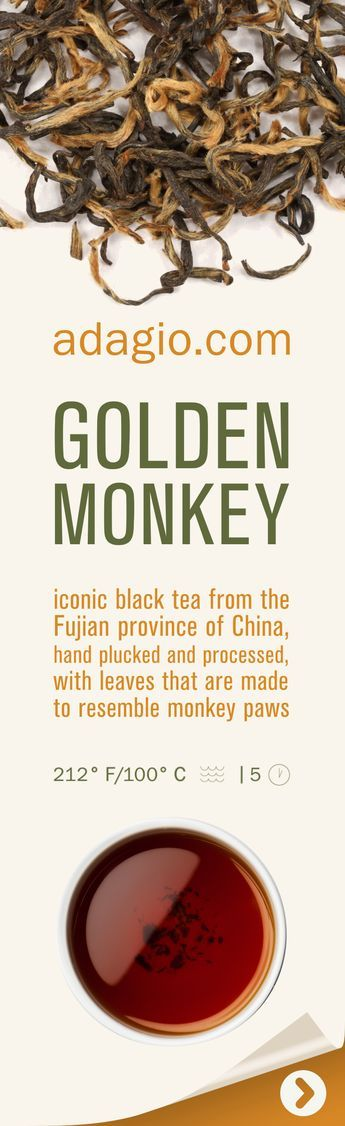 """Golden Monkey or Jin Hou is a famous Chinese black tea whose leaves are said to resemble monkey paws. Golden Monkey originates from the Fujian province of China and is hand-processed each spring with careful plucking of only one leaf and one bud. This Golden Monkey is sweet and very """"nosy"""": savory roasted apples, palm sugar, walnut, cocoa, rye and spice notes that linger as you sip. Rich, coating texture and very smooth, soft mouthfeel are both signs of a quality Jin Hou."""