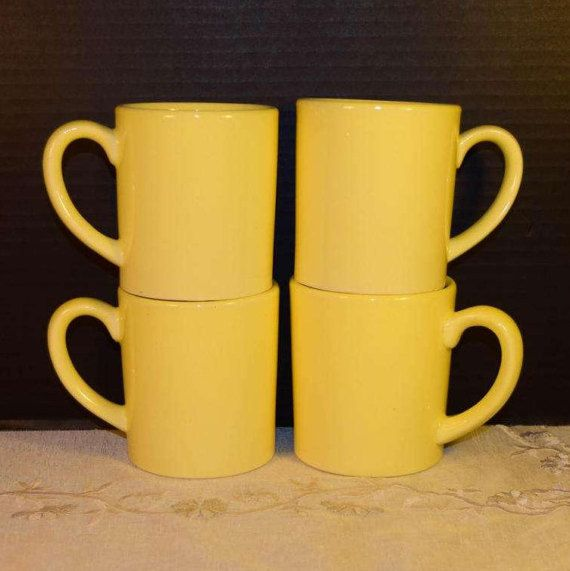 USA Pottery Yellow Coffee Cups Set of 4 by ShellysSelectSalvage