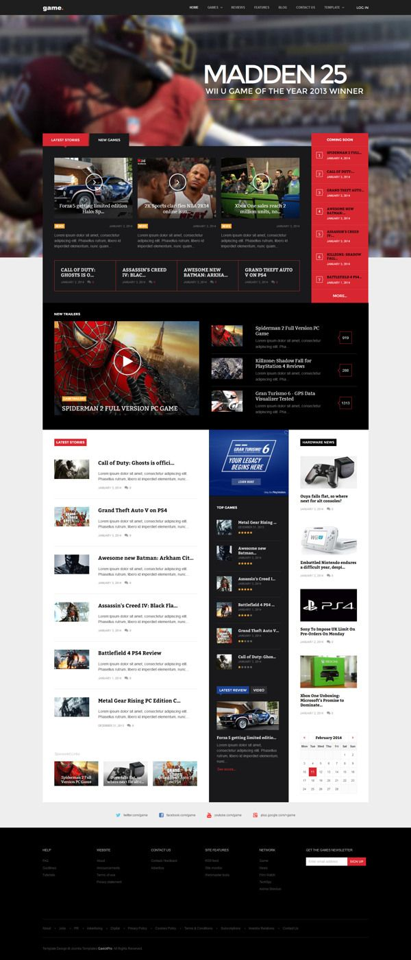 Game WordPress Theme by Robert Gavick, via Behance