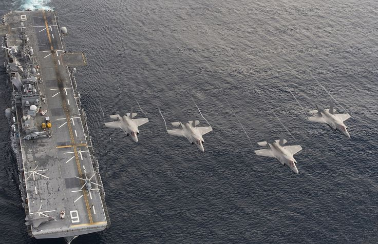 https://flic.kr/p/NfCsR5 | 161120-N-VT045-0001 | PACIFIC OCEAN (Nov. 19, 2016) Four F-35B Lightning II aircraft perform a flyover above the amphibious assault ship USS America (LHA 6) during the Lightning Carrier Proof of Concept Demonstration.  The F-35B will eventually replace three  Marine Corps aircraft; the AV-8B Harrier, F/A-18 Hornet and the EA-6B Prowler. (U.S. Navy photo by Andy Wolfe/Released) 161120-N-VT045-0001 Join the conversation www.navy.mil/viewGallery.asp…
