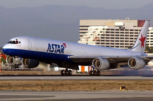 Astar Cargo Airlines, USA, rnded ops in 2012 - Douglas DC-8F freighter - via PJ de Jong