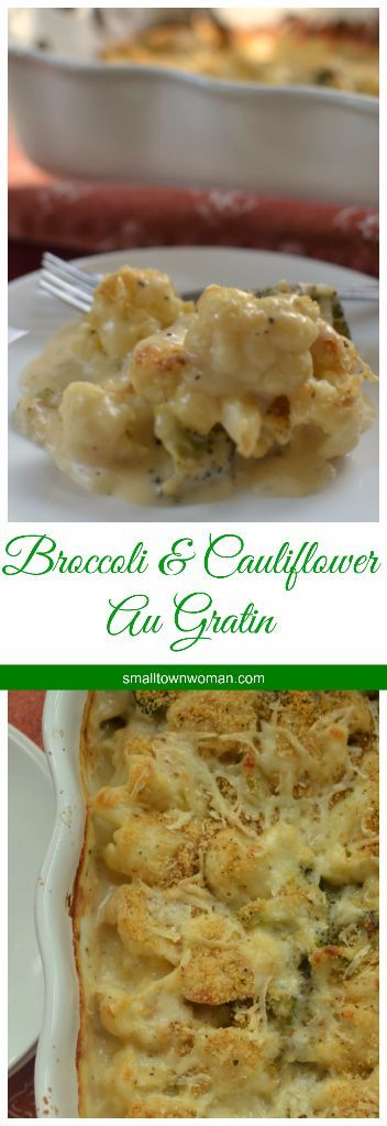 Broccoli and Cauliflower Au Gratin combines roasted broccoli and cauliflower in a heavenly creamy cheddar cheese sauce.  It is lightly sprinkled with a super easy crumb topping and baked to golden perfection.