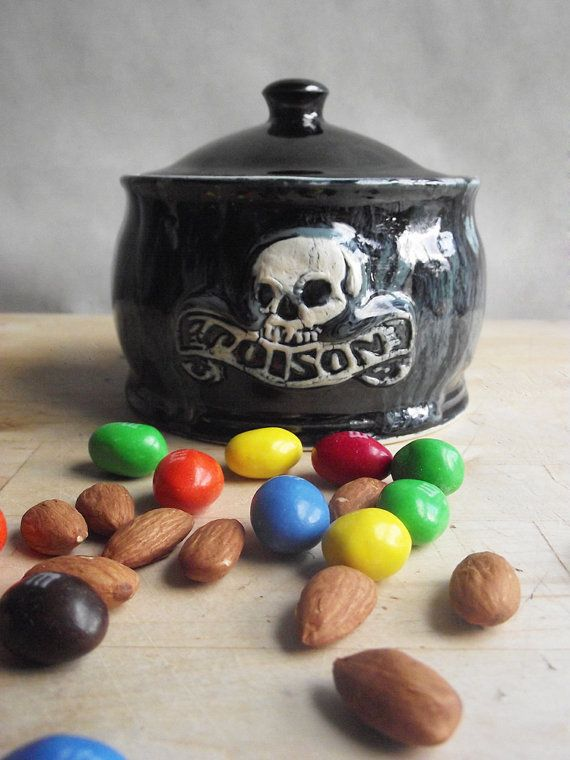 Black and Blue Poison Jar with Skull