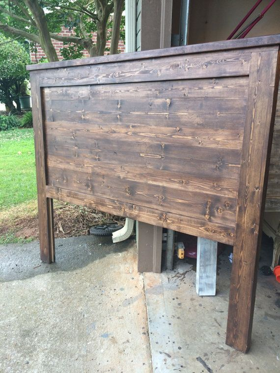Walnut, Modern Farmhouse Reclaimed Solid Pine Headboard- Barnwood look. Mason. Antebellum Style.  King, Queen, Twin, Full!