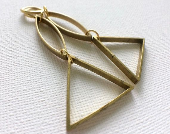 Geometric Triangle Earrings Vintage Brass by PERCIVALandHUDSON