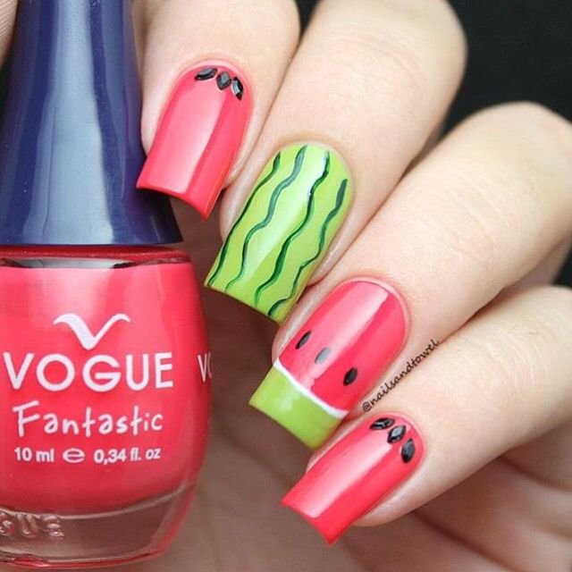 Yummy mani by @nailsandtowel! Katia is using our French Tip Nail Vinyls to create her fabulous watermelon design  Find them at: snailvinyls.com
