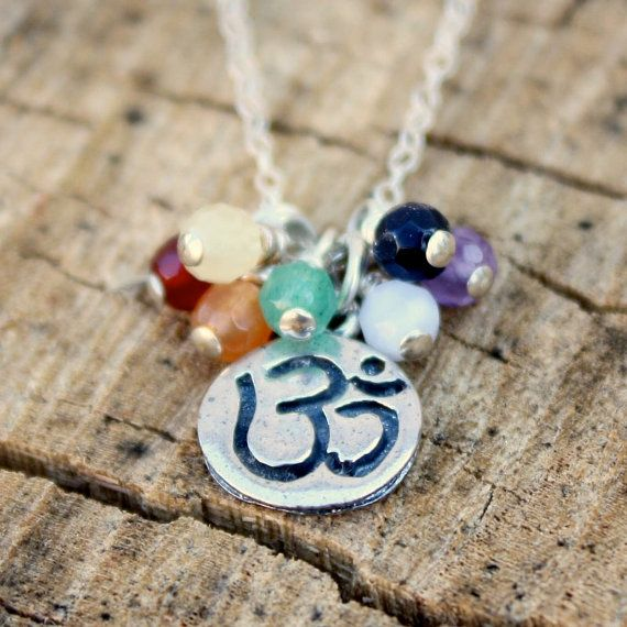 Chakra Necklace - Sterling Silver . Yoga Jewelry . Chakra Gemstones