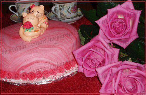 """Торт """"Морское дно"""" (украшен ко дню Святого Валентина) - Кулинарный романс"""